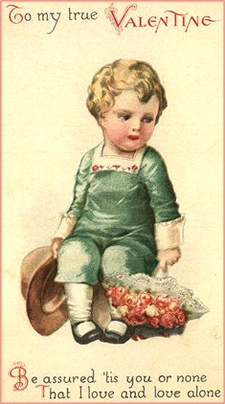 Free Valentines Cards: Cute drawing of little boy in green with big bouquet of roses.