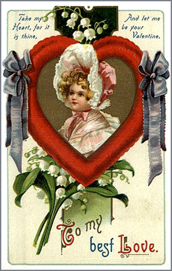 Free Valentines Day cards to print: Old vintage card of young girl inside heart.