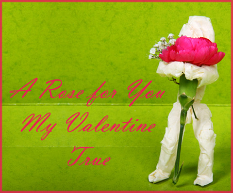 Free Valentines postcard to print: Photo of paper man holding a big pink rose in his arms.
