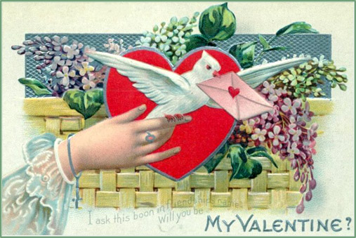 Free Valentines Day cards in vintage style: white dove messanger with love letter.