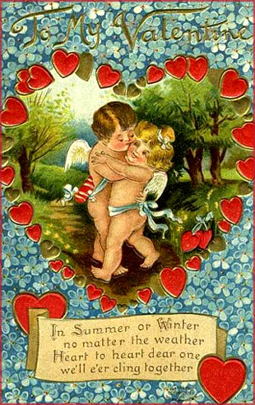 Two cupids or angels hugging each other in forest scene. Find free Valentines cards.