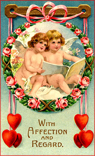 Sweet Vintage Valentine pictures of two cupids looking in a book.