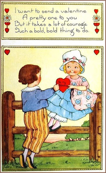 Free Valentines Day cards: Little girl on a fence being given a red heart by cute little boy.