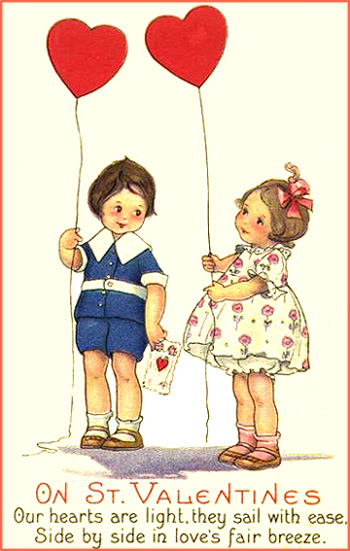 Vintage cards featuring two children with red heart shaped balloons. Free Valentines Day cards.