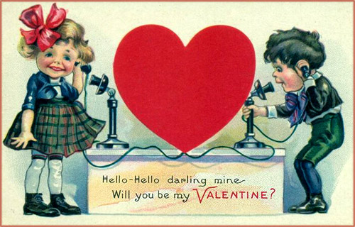 Free Valentines cards to print: Funny drawing of two children speaking over old telephone.