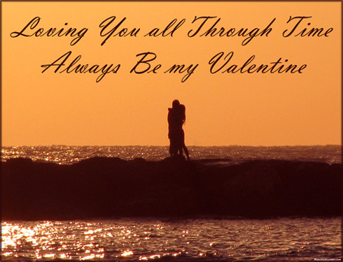 Free Valentine Card: couple hugging at the beach in an orange sunset.