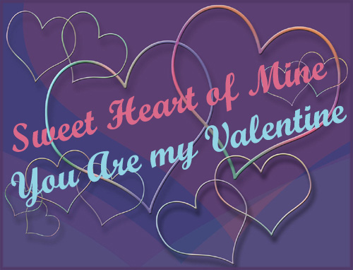 Valentine graphics: Outlines of hearts on purple background.