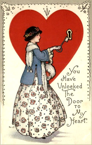 Vintage Valentine greeting cards: drawing of woman inserting big key into a heart's keyhole.