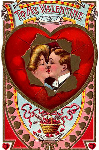 Free Vintage Valentine Cards: Victorian couple kissing inside red heart.