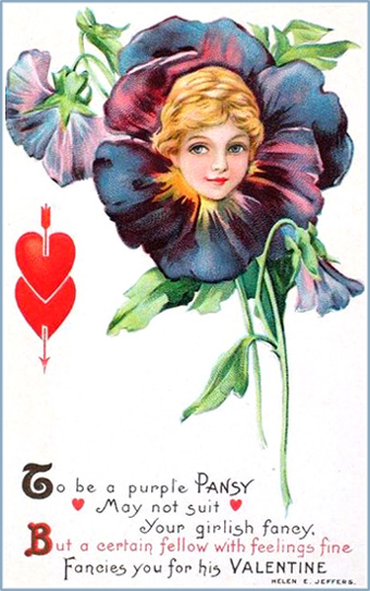 Woman's head inside a flower, a purple pansy. Beautiful Valentines Day postcards.
