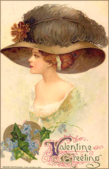 Free Valentine cards: Profile portrait of pretty woman with a big hat which has a very big feather.