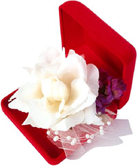 Creative Valentines Day flowers ideas: Red velvelty jewelry box with a white rose.