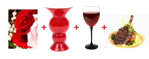 Combine red roses with babys breath, a red vase, a glass of red wine and dinner.