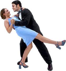 Couple having fun dancing on Valentine's.