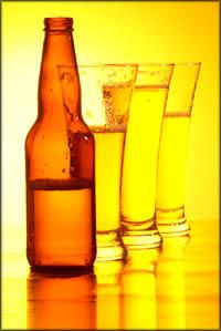 Beer bottle and beer glasses.