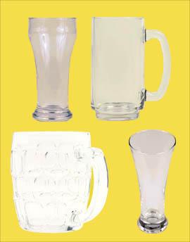 Four different beer glasses og beer mugs.