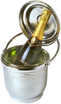 Champagne day: Photo of champagne bottle in ice bucket.