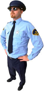 Costumes fun for Valentines: Tough guy dressed up as a policeman.
