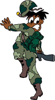 Funny picture of army soldier in camouflage gear