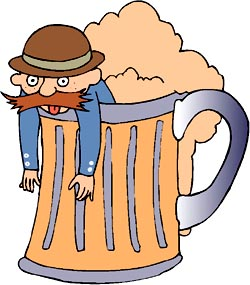 Funny drinking jokes: Funny drawing of drunk man in a beer mug.