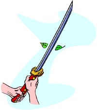Very funny joke: Drawing of hands holding a samurai sword.