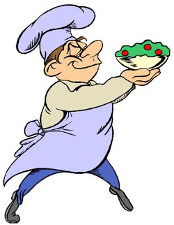 Very short jokes: Funny drawing of French chef carrying a salad.