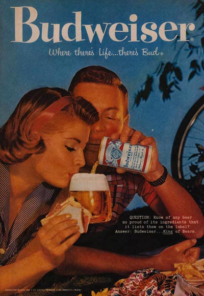 Vintage Budweiser beer commercial - Woman drinking the foam of the beer. Budweiser: Where there's Life ... There's Bud!