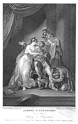 Facts about pearls and Cleopatra: Old drawing of Cleopatra and Antony.