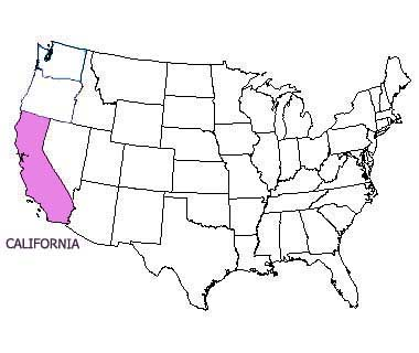 USA map with California highlighted
