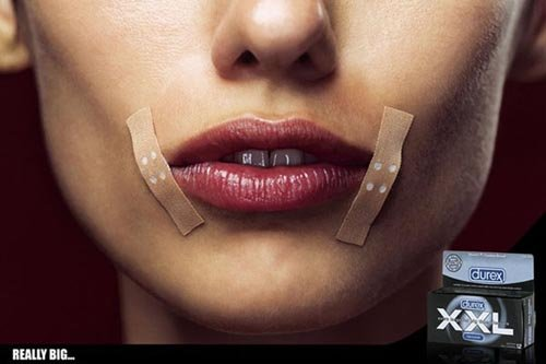 Durex xxl - funny condom ads - woman with plaster