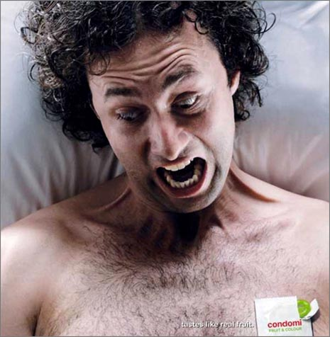 Condomi condom commercial - man screaming - tastes like real fruit