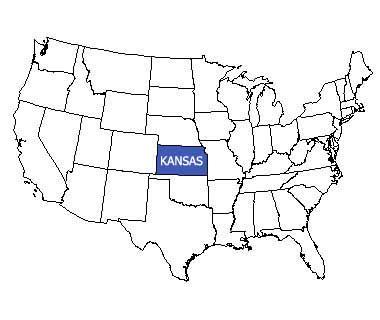 USA map with Kansas highlighted