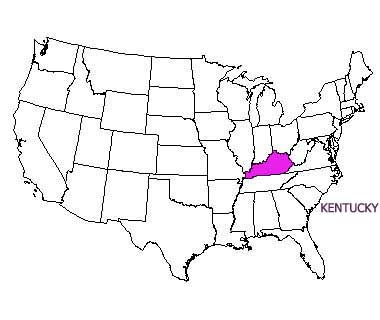 USA map with Kentucky highlighted