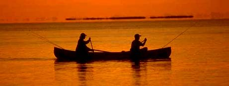 Louisiana nickname: Fisherman's Paradise - picture of fishing in sunset