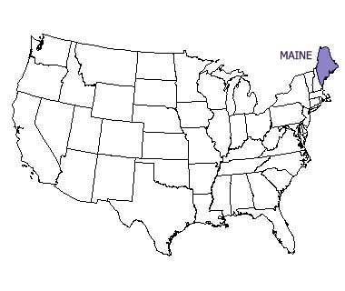 USA map with Maine highlighted