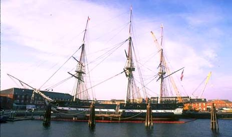 Massachusetts nickname: The Bay State - picture of old ship