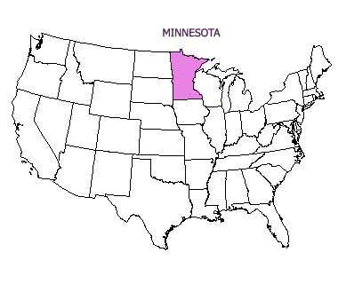 USA map with Minnesota highlighted