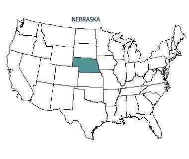 USA map with Nebraska highlighted