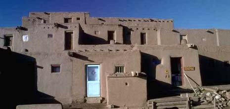 New Mexico nickname: The Land of the Delight Makers - picture of Pueblo Indians' dwellings
