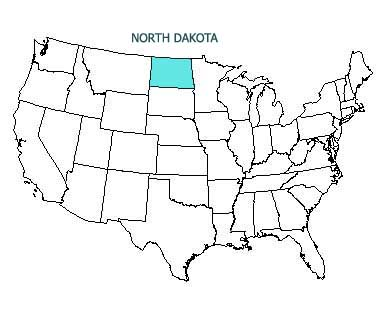 USA map with North Dakota highlighted