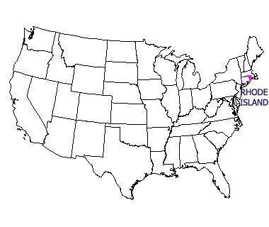 USA map with Rhode Island highlighted