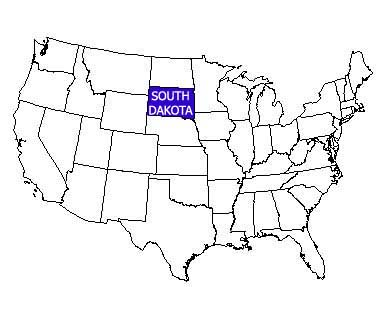 USA map with South Dakota highlighted