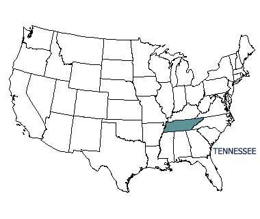 USA map with Tennessee highlighted