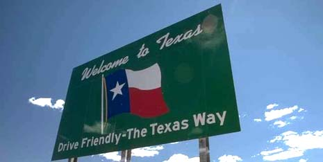 Texas state motto: Friendship - picture of road sign - drive friendly, the Texas way