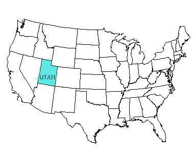 USA map with Utah highlighted