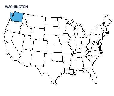 USA map with Washington highlighted