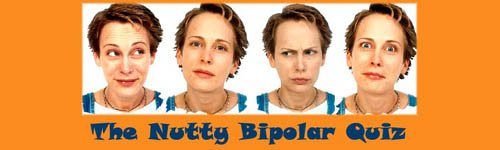 Funny Bipolar Quiz: 4 different moods expressions on womans face.