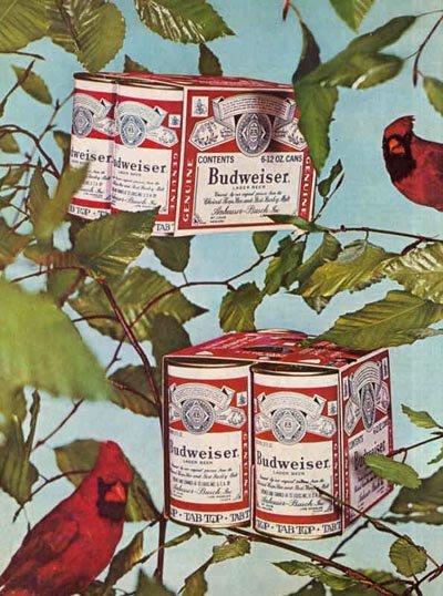 Old Budweiser ad - six packs hanging in a tree - great alcohol ads