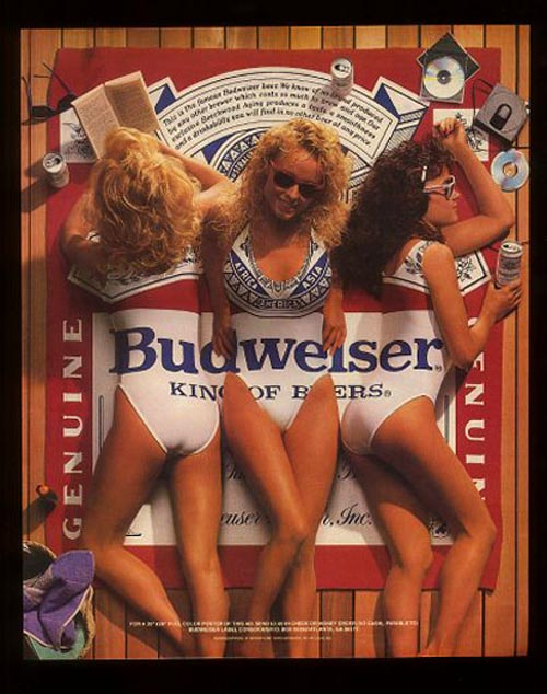 Budweiser beer ads - Three pretty Budweiser girls. King of beers.