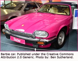 Real pink Barbie car. Funny jokes about cars.